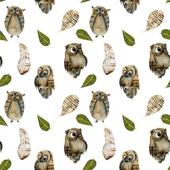 Бесшовные из акварельных сов и перьев