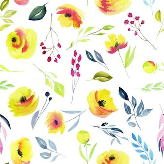 水彩の黄色いバラと枝のシームレスパターン