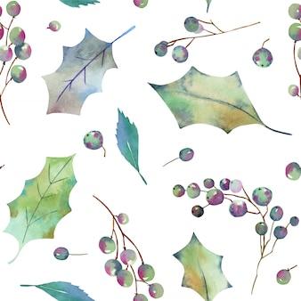 水彩のクリスマスのヒイラギの木のシームレスパターン