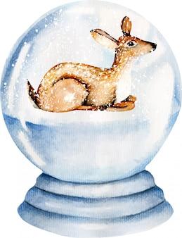 雪に覆われたガラス玉の中のかわいい水彩画鹿
