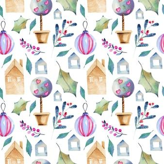 スカンジナビアスタイルの水彩画の冬要素のシームレスパターン
