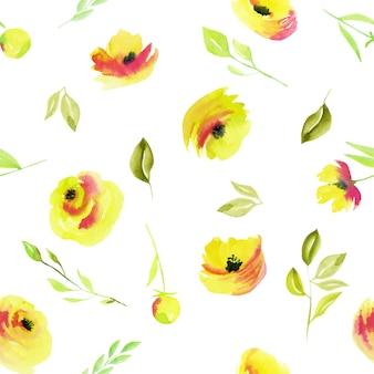 水彩の黄色いバラと緑の枝のシームレスパターン