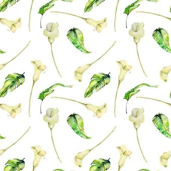 水彩の白いカラスと熱帯の葉のシームレスパターン