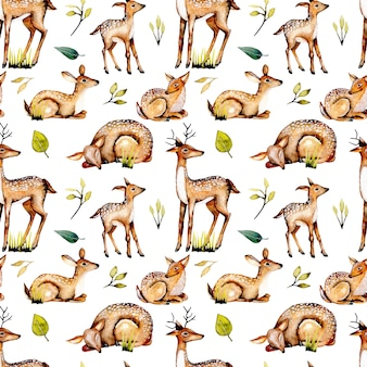水彩鹿、赤ちゃん鹿、花の要素とのシームレスなパターン