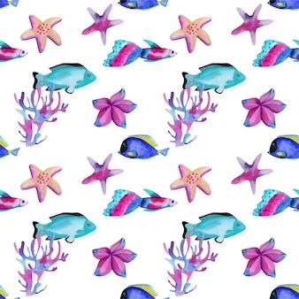 水彩の海洋魚とヒトデのシームレスパターン