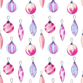 Бесшовные шаблон акварельных рождественских украшений