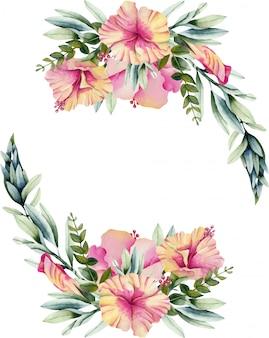 水彩のハイビスカスの花の花輪