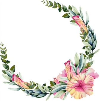 水彩のハイビスカスの花、緑の枝と葉の花輪