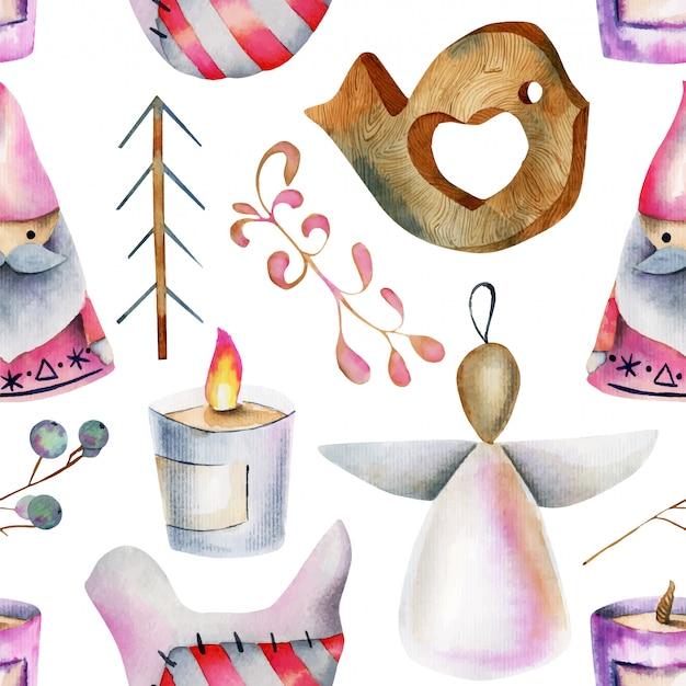 水彩のクリスマスアイテムのシームレスパターン