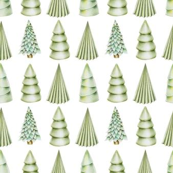 手描きのクリスマスツリーのシームレスパターン