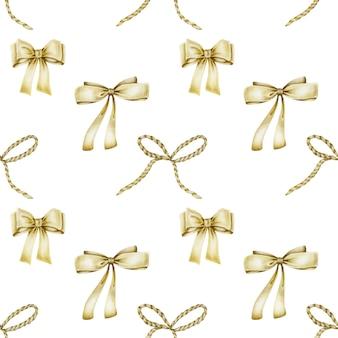 手描きの黄金の弓のシームレスパターン
