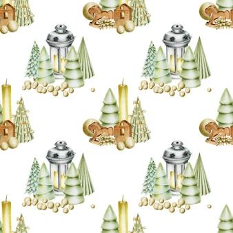 クリスマスの装飾とのシームレスなパターン