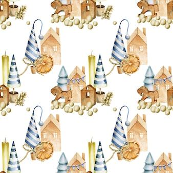 キャンドル、コーン、クリスマスツリー、木のおもちゃとのシームレスなパターン
