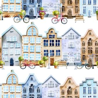 水彩のスカンジナビアの家通りのシームレスパターン