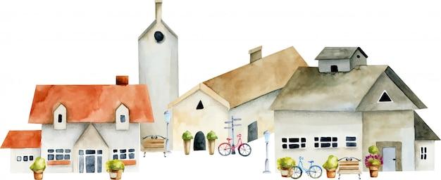 水彩ヨーロッパ古代家、旧市街の通りのイラスト