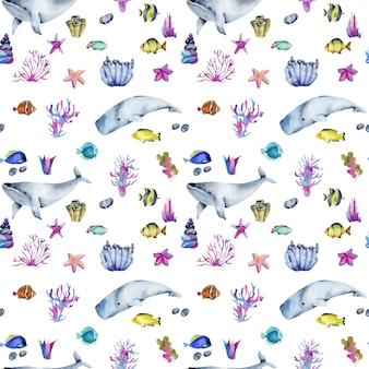 水彩の海洋魚とクジラのシームレスパターン