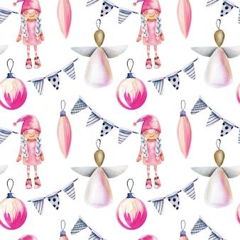 スカンジナビアスタイルの水彩のクリスマスの装飾のシームレスパターン