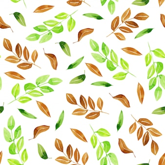 水彩の緑と茶色の葉のシームレスパターン