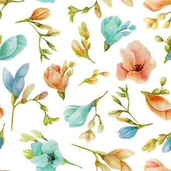 Акварель синие и персиковые цветы фрезии бесшовный фон