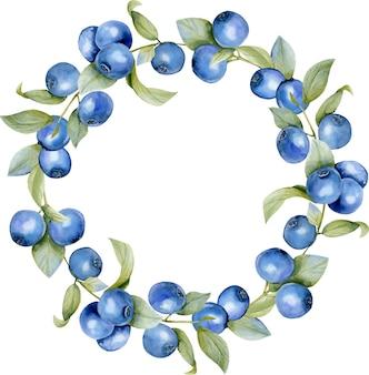 水彩ブルーベリーの枝の花輪、ラウンドフレームの枠線