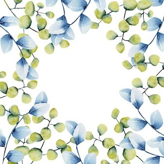 水彩の緑と青のユーカリの枝を持つカードテンプレート