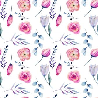 水彩のピンクの牡丹と青い枝のシームレスパターン