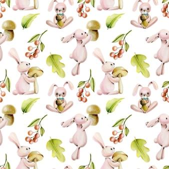 水彩のかわいいウサギと秋の植物のシームレスパターン