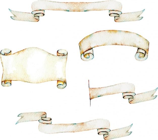 Коллекция изолированных акварель старинных лент