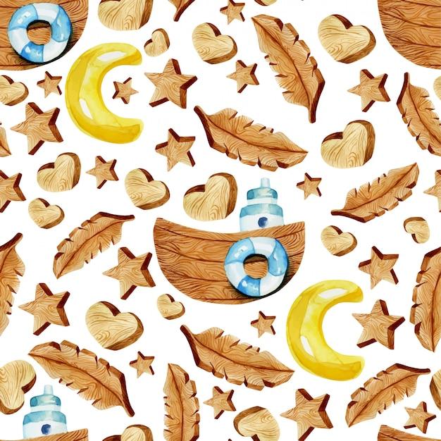 水彩の木製ハート、星、羽、船のシームレスパターン