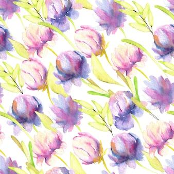 水彩のピンクと紫の牡丹、緑の葉のシームレスなパターン