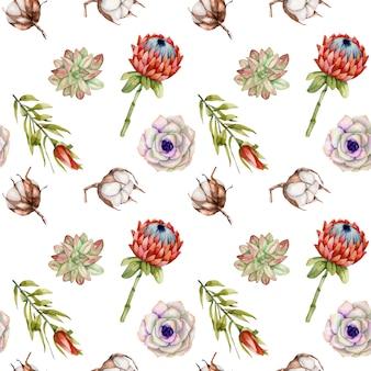 水彩のプロテアの花、綿、多肉植物のシームレスパターン