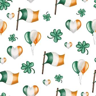 聖パトリックの日のお祝いにアイルランド色のフラグ、エアバロス、クローバーの葉のシームレスパターン