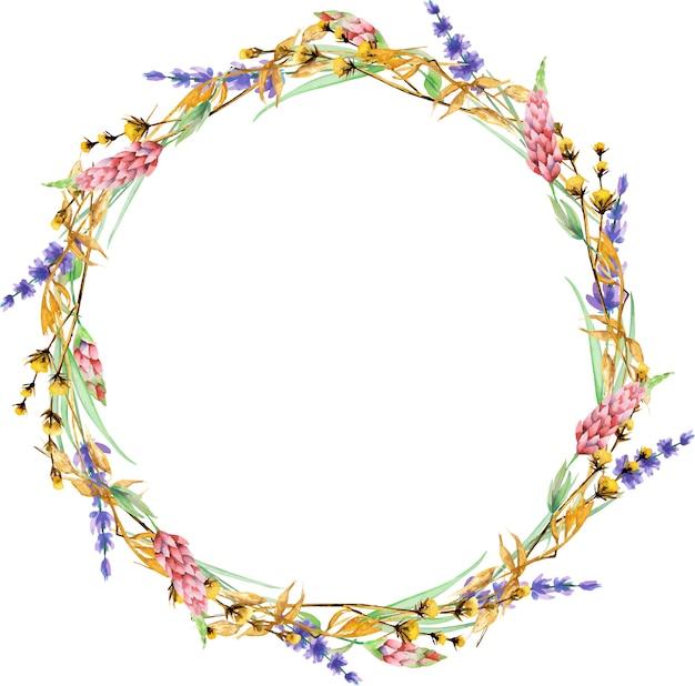 水彩の黄色のドライワイルドフラワー、ルピナス、ラベンダーの花と花輪