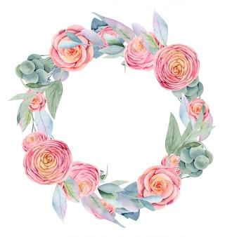 水彩のピンクの美しいバラ、緑の葉、果実、枝の花輪