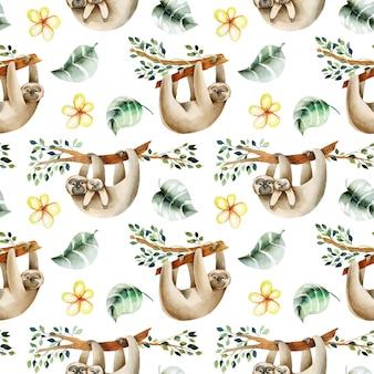 木や花の要素のシームレスなパターンにぶら下がっている水彩のかわいいナマケモノ手描き
