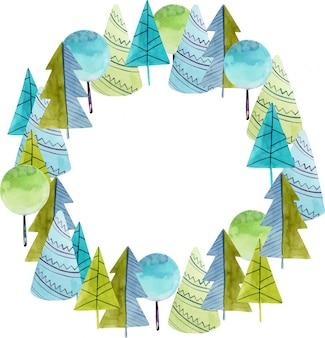 Акварель простые деревья и ели, рисованной.