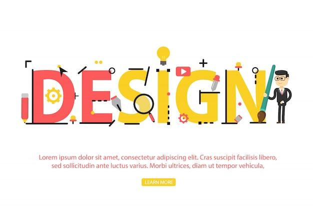 ワードデザインの概念。ウェブサイト、バナー、モバイルの図の概念