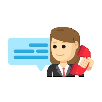 Женский агент по обслуживанию клиентов, звонит по телефону