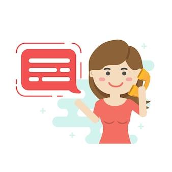 コールセンターサポートチーム。コールセンターサービスジョブキャラクター