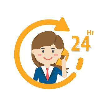 サービス時間アイコン、顧客サービス、コールセンターサポート。