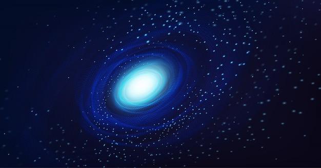 宇宙背景に光の渦巻銀河。