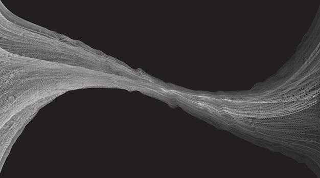 黒の背景に抽象的な線デジタル音波