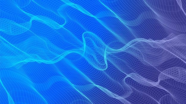 Волновой эквалайзер на синей цифровой звуковой волне, волнистая концепция поверхности частиц