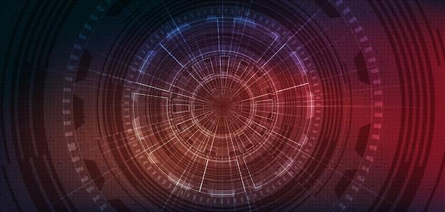 将来の背景、ハイテクデジタルおよび通信コンセプトデザインのサークルマイクロチップテクノロジー。