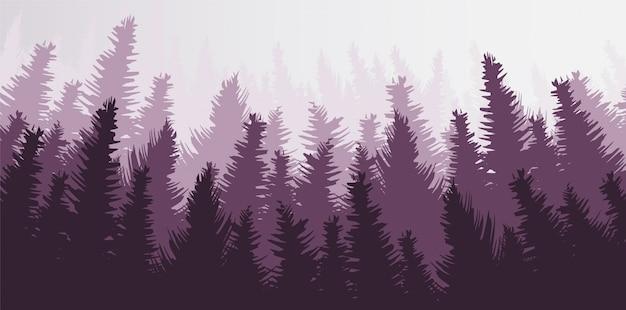 Вектор сосновый лес