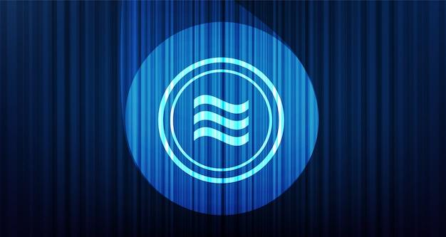 Символ криптовалюты весы на фоне синего занавеса
