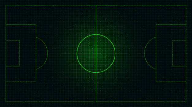 Зеленое футбольное поле на фоне цифровых технологий.