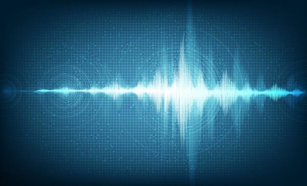 抽象的なデジタルブルーミュージックラジオ波の背景