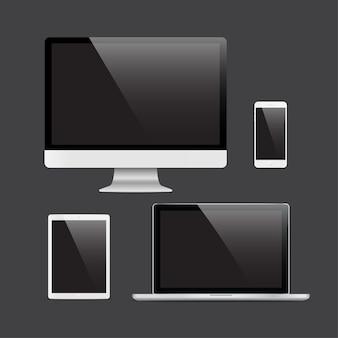 Набор реалистичных компьютерных мониторов, ноутбуков, планшета и телефона