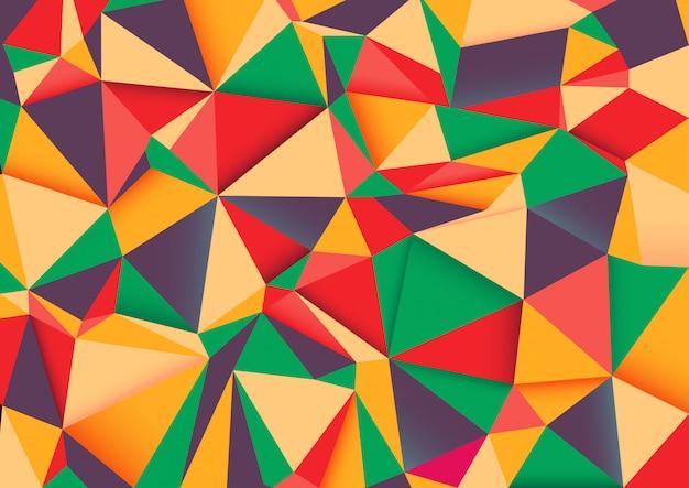 幾何学的しわくちゃの三角形低ポリスタイルグラデーション。